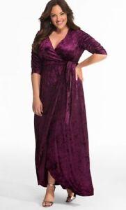 Kiyonna-Women-039-s-Dress-Maxi-Size-1X-Cara-Style-Maxi-Purple-True-Wrap-Velvet-USA
