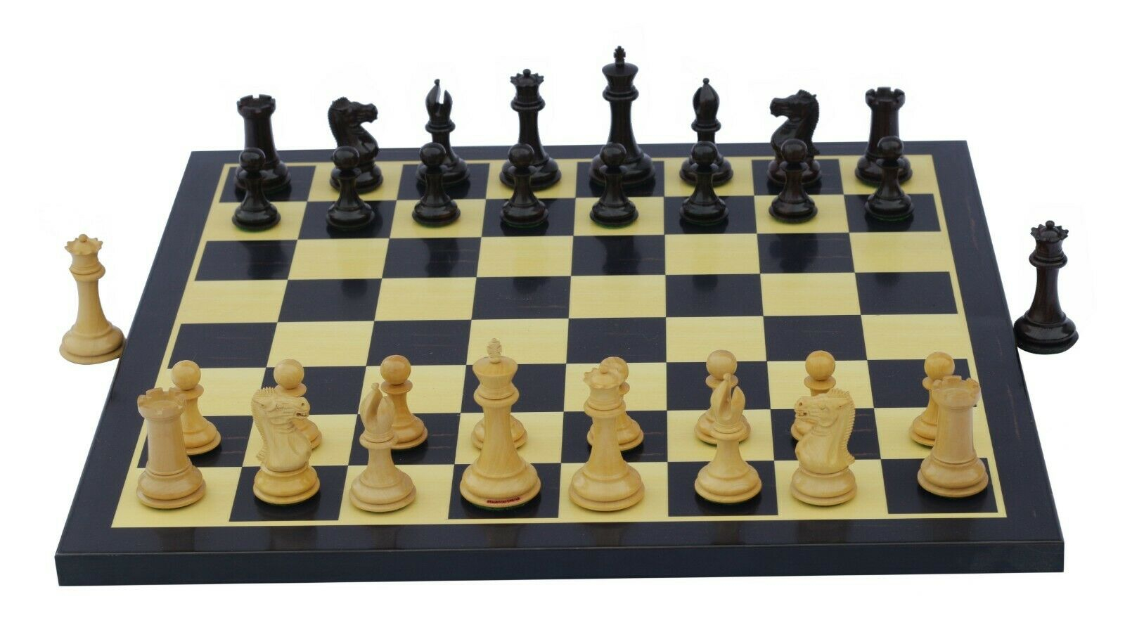 Small Collector Series Staunton 3  rosa Wood Chess Pieces with Chess board