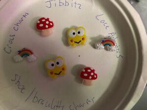 Glow-In-Dark-Frog-mushroom-rainbow-Lot-6-Crocs-Shoe-Bracelet-Charms-Jibbitz