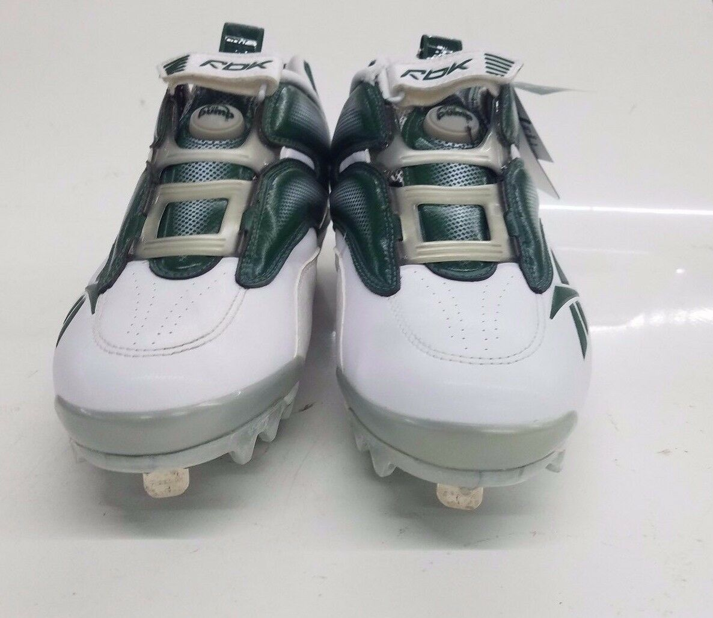 RARE RBK Reebok Men's Baseball Cleats The Pump Mania Low, 10.5 M (white green)