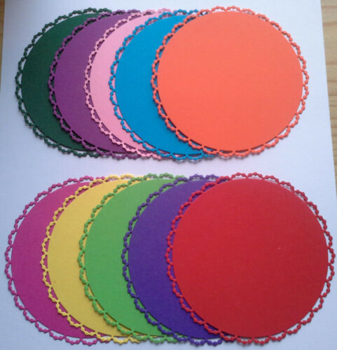 10 Die Cut Pearl Edged Circles In Assorted Colours-10cms