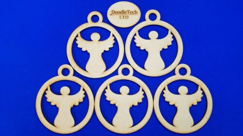 Large Christmas Angel Baubles Intricate Wooden Xmas MDF Laser Cut Shape