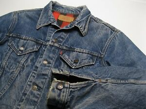 ffc7a804 Vintage Levi Flannel Lined Blue Denim Jean Trucker Jacket size L | eBay