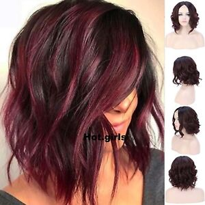Women U Part Lace Front Wig Short Curly Wave Synthetic Hair Ombre Red Full Wigs Ebay