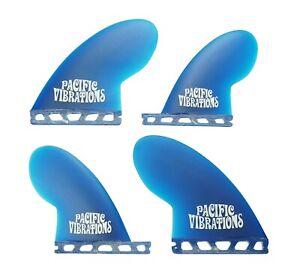 PACIFIC-VIBRATIONS-Compressor-quad-Futures-SURFBOARD-FIN-SET-NEW-4-FINS-Blue