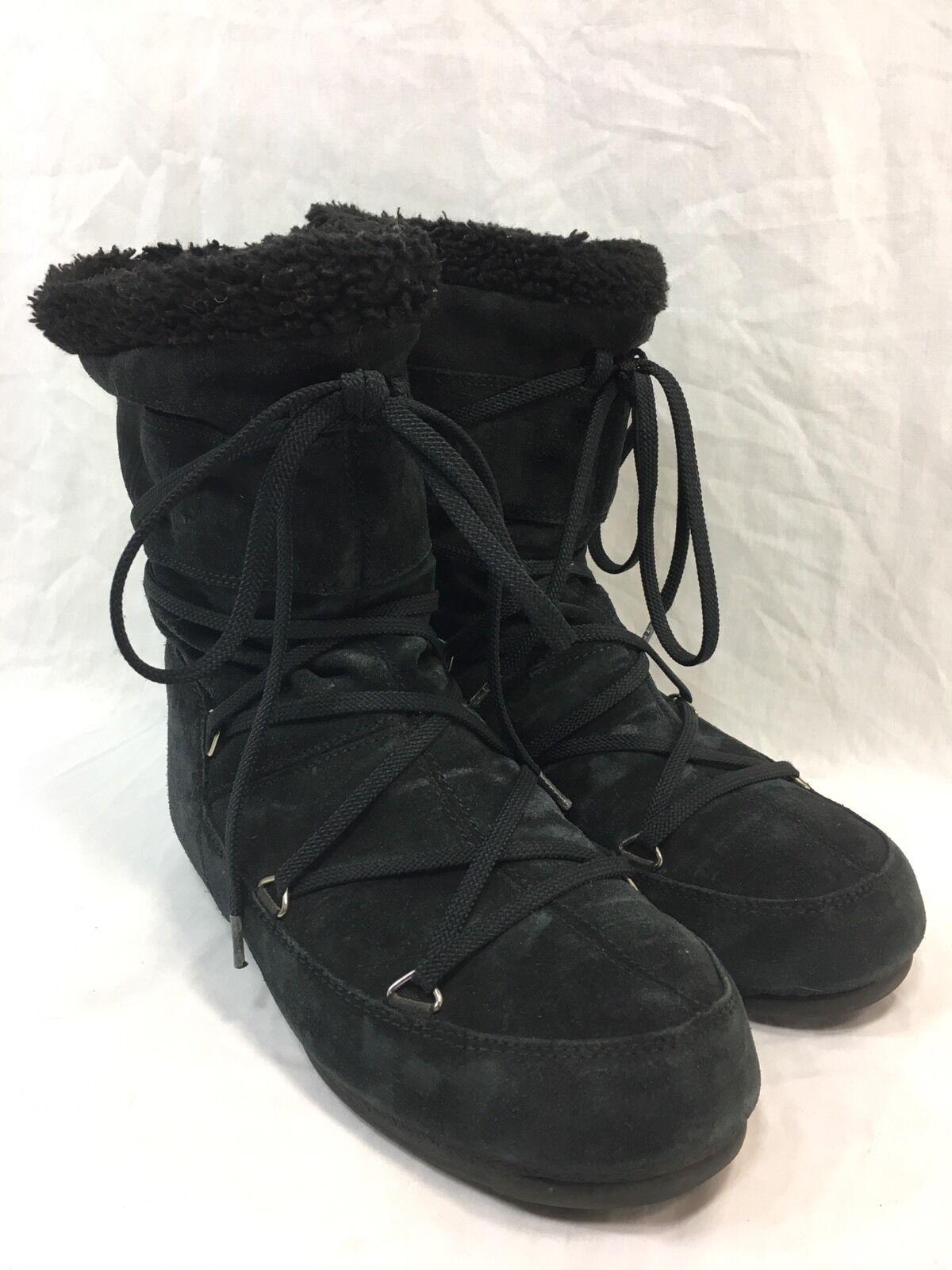 Tecnica Moon Stiefel Fashion Winter BLACK Suede Damenschuhe Größe 6.5 Pull-On Laces EUC