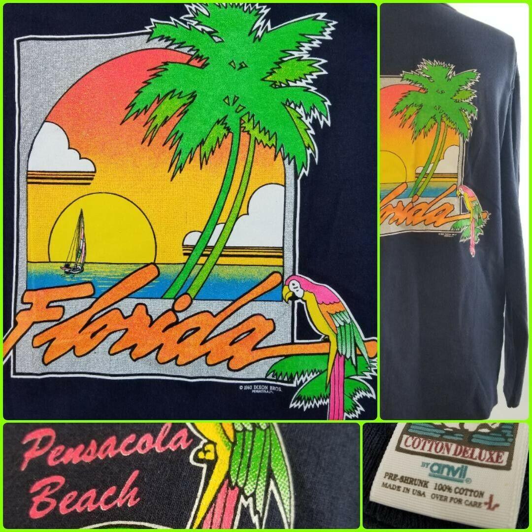 Vintage Neon Unisex Large Florida Palm Tree T Shirt Long Sleeve Henley Parrot