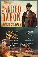 Manfred von Richthofen (The RED BARON) Fokker Dr.I WWI Aircraft 4v Stamp Sheet