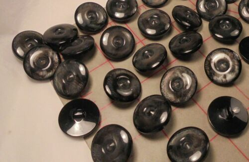 """6 Fine Italian Shank Buttons Charcoal Black Moonstone Effect Center Dimple 7//8/"""""""