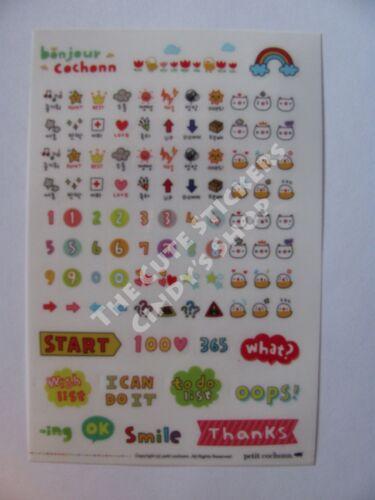 #14 Cute piggy cartoon pvc kids stickers notebook diary decoration 6 sheets