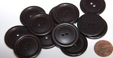 "12 Large Black Plastic Buttons 1 1/8"" 29mm # 5718"