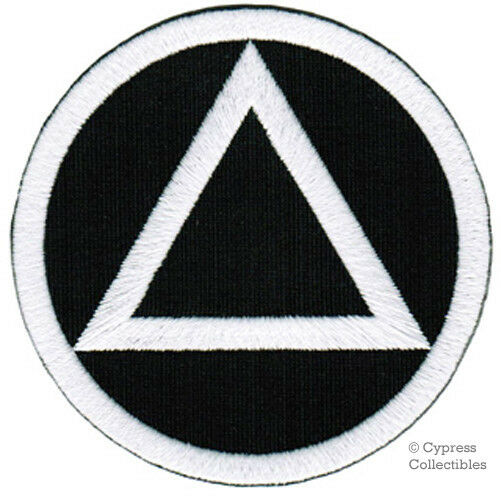 alcoholics anonymous iron on embroidered patch aa applique black