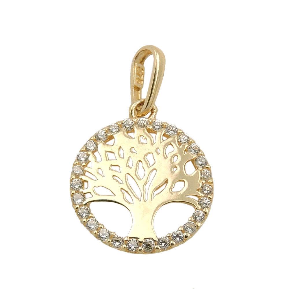Anhänger 11mm Lebensbaum rund glänzend mit whiteen Zirkonia 375 gold yellowgold