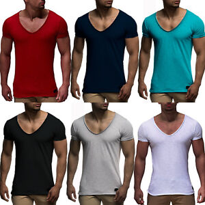 Men-V-Neck-Short-Sleeve-Muscle-Tee-Shirts-Slim-Fit-Gym-Casual-Solid-T-shirt-Tops