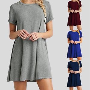 Women-Summer-Short-Sleeve-Plain-Simple-Swing-T-shirt-Loose-Shirt-Midi-Dress-Tops