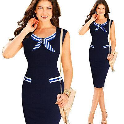 Women's Summer Navy Sailor Business Work Slim Bodycon Evening Party Pencil Dress