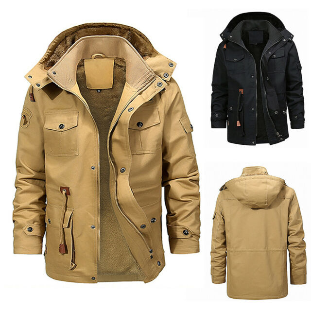 WNSY Men Plus Size Thicken Hooded Patches Sherpa Lined Parka Coat Jacket