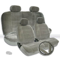For Jeep Semi Custom Grey Velour Car Seat Steering Wheel Covers Full Set