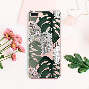 Leaves-iPhone-X-Case-Floral-iPhone-7-8-Plus-Silicone-Cover-Tropical-iPhone-6s-6