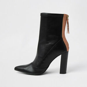 River Island Womens Black Point Toe Stitch Detail Ankle Boots