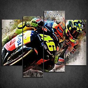 Vélo De Course Valentino Rossi Cascade Impression Toile Décoration