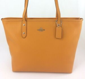 Details About New Authentic Coach F58846 Leather City Zip Tote Handbag Purse Tangerine Yellow