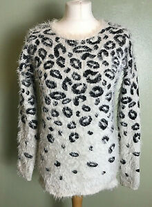Warehouse White Black Animal Print Super Soft Fluffy Winter Jumper Size Uk 8 Ebay