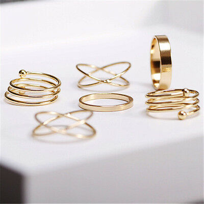 Unique Ring Set Punk Alloy Knuckle Rings for Womens 6 PCS Finger Rings GTAU