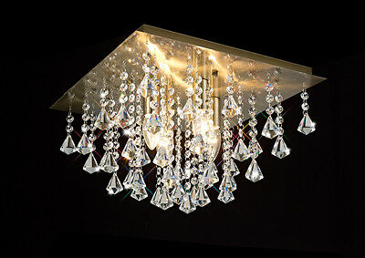 *SALE* Ant. Brass Flush Ceiling Light With Stunning Crystal Prism Droplets 4x60W