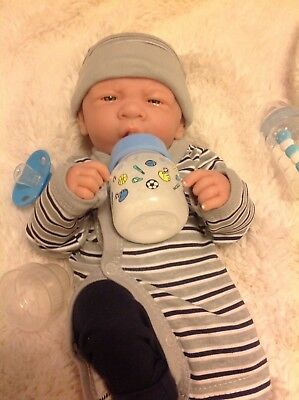 "+ FIRST YAWN REBORN BERENGUER BOY DOLL 14/"" PREEMIE W BOTTLE PACIFIER BABY BOY!"
