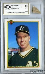 1990 Bowman #454 Mark McGwire Hidden Treasures w/GAME USED BAT BECKETT 10 MINT!