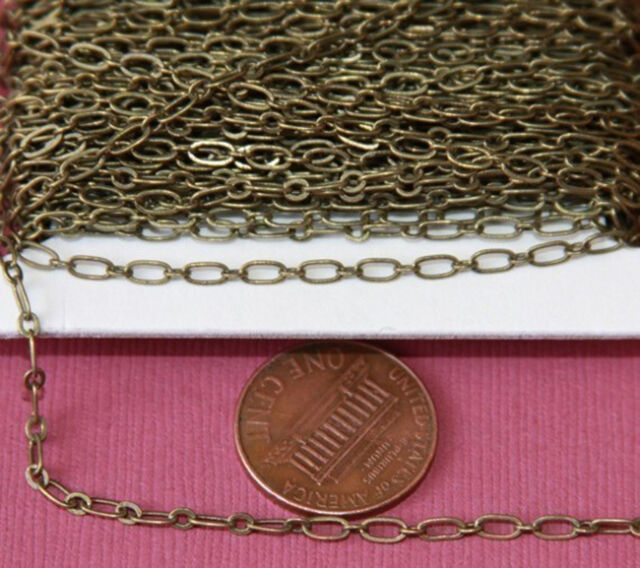 32ft of Antiqued Brass Long and Short chain 4X2mm