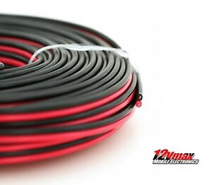 10 AWG Gauge Red Black Zip Speaker Wire 12V Auto Power Cable Pure Copper 50 Feet