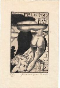 New-Year-039-s-Greeting-Etching-Michel-Fingesten-1884-1943-Buttocks-Faces