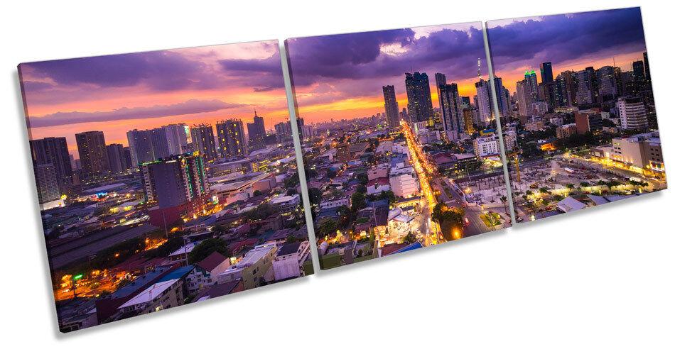 Manila Philippines Philippines Philippines Asia Skyline CANVAS WALL ART TRIPLE Box Frame Print 06af2b