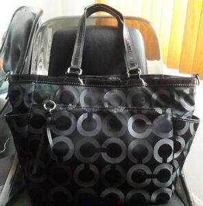 f84049f753b Details about Coach Signature OP Art Diaper Baby Bag Large Tote Purse 16001  Black/Gray - RARE