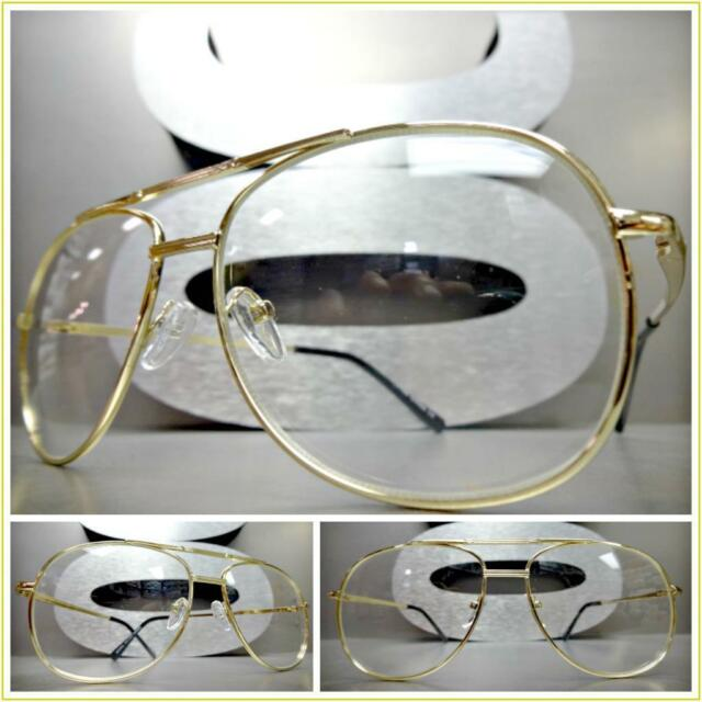 aecf8ba773 Men VINTAGE RETRO AVIATORS Style Clear Lens EYE GLASSES Small Gold Fashion  Frame