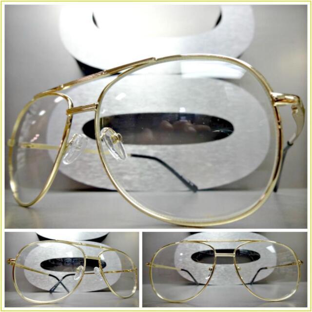 665b203f0b Men Vintage Retro Aviators Style Clear Lens Eye Glasses Small Gold Fashion  Frame