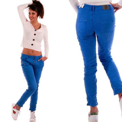 Zipper Style MIS 38-48 A Quadri Star Pantaloni lunghi cavallo basso jeans donna 4 Button Bottoni Strass