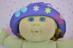 Play-n-Wear-Doll-Clothes-To-Fit-14-034-Cabbage-Patch-PURPLE-FLOWER-DRILL-SUN-HAT