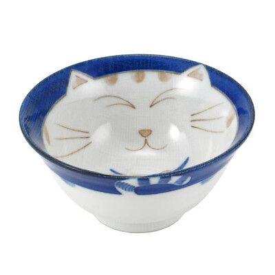 """2 PCS. Japanese 5.25""""D Porcrelain Rice Soup Bowl Maneki Neko Cat, Made in Japan"""