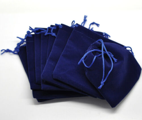 Wholesale Lots Dark Blue Velvet Pouch Jewelry Bags With Drawstring 12x10cm