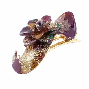 Hairstyle-Purple-Flower-Detail-Gold-Tone-Plastic-Hair-Clip-Barrette-Hairpin