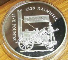 2004 £5 Proof Alderney Bailiwick of Guernsey CI Silver Coin - Rocket Steam Train