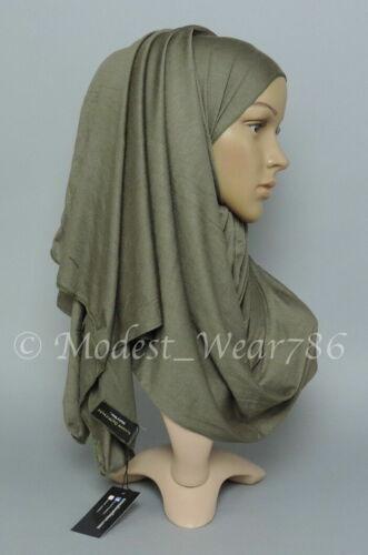 Premium Cotton Jersey Hijab Scarf Shawl Wrap Muslim Headwear Small Deep Olive