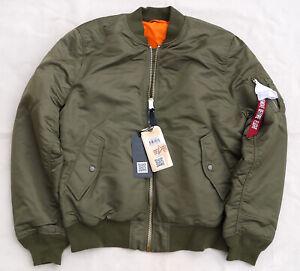 ALPHA-INDUSTRIES-MA1-Slim-Flight-Jacket-Bomber-Reversible-Vintage-Olive-Mens-2XL