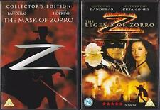 THE MASK OF ZORRO & LEGEND OF ZORRO Antonio Banderas Action 2 Disc DVD *EXC*