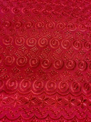 "RED ALLOVER COTTON EYELET EMBROIDERY  FABRIC 44"" 1 YARD"