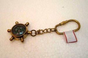 Brass STEERING COMPASS Key Chain- Collectible Marine Nautical Key Ring (32)