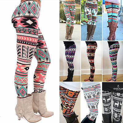 Womens Gilrls Fashion Colorful Floral Pattern Retro Knitted Leggings Pants Hot